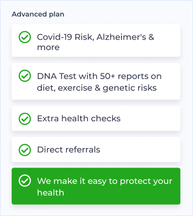 image showing examples of the genetic risk and health checks provided on the Halogen Health Advanced plan