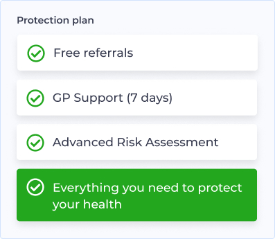 image showing examples of the genetic risk and health plan provided on the Halogen Health Health Protection plan